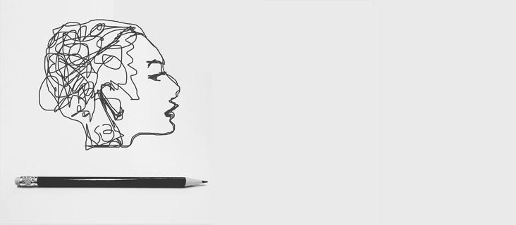 dessin profil fille crayon noir
